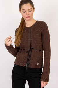See by Chloé Brown Wool Knitted Cardigan with Ribbon Belt / Size: 42 IT - Fit: XS / S