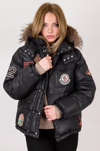 Moncler Black Puffer Jacket with Patches / Size: 14 - Fit: S / M