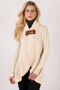 Ralph Lauren Ecru Wool Knitted Cardigan with Leather Belts / Size: M - Fit: S / M