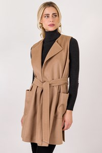 Max Mara Beige Sleeveless Camelhair Coat / Size: 14 UK - Fit: M