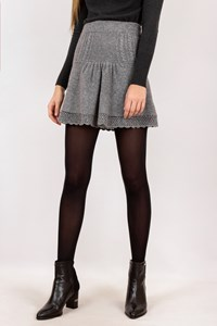 5226 Celia Kritharioti Grey Knitted Mini Skirt / Size: S - Fit: XS / S