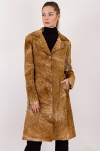 Ditalia Leather Tan Antelope Skin Coat / Size: L - Fit: S / M