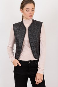 Dkny Grey Quilted Short Vest / Size: S - Fit: XXS