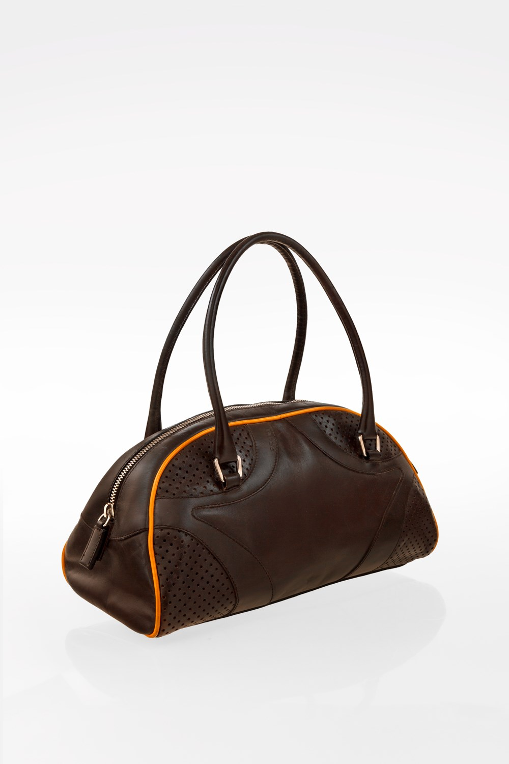 57544a2abd2f Small Brown Leather Bauletto with Perforated Details
