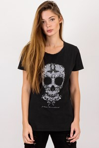 Zuelements Black T-shirt with Skull and Beads / Size: ? - Fit: S