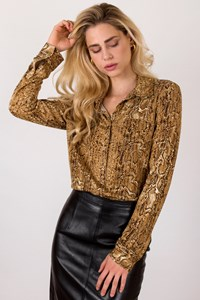 Tory Burch Gold Silk Shirt with Snakeskin Effect / Size: L - Fit: M