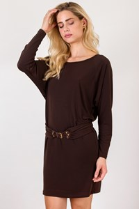 MICHAEL Michael Kors Brown Jersey Dress with Belt / Size: M - Fit: S
