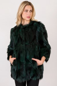 Blugirl Two-Tone Forest Green-Black Fox Fur Jacket / Size: 44 IT - Fit: M