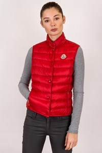 Moncler Red Liane Water Resistant Down Vest / Size: 0 - Fit: XXS
