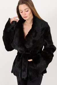 Stefanel Black Rabbit Fur Jacket / Size: L - Fit: M