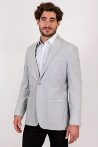 Corneliani ID Light Grey and White Gauffré Blazer / Size: 50R - Fit: True to size