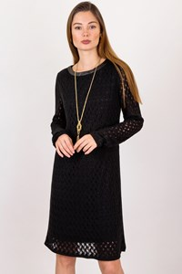 DVF Black Lightweight Knitted Long-Sleeved Dress / Size: L - Fit: S / M