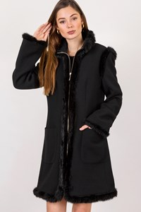 Moschino Jeans Black Wool Coat with Rabbit Fur Details / Size: 46 IT - Fit: S / M