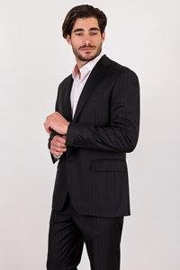 Caruso per Carouzos Blue Striped Cool Wool Suit / Size: 50 IT - Fit: M