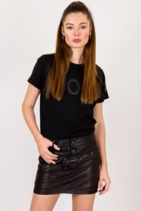 Diesel Black Leather Mini Buttoned Skirt / Size: 27 - Fit: XS / S