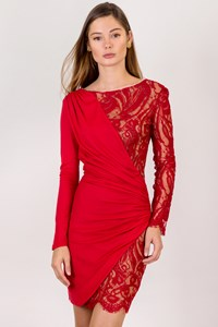 Emilio Pucci Red Wool Elasticated Dress with Lace / Size: 40 IT - Fit: XS