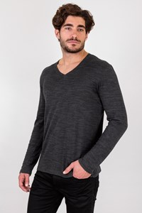 Boss Grey V-neck Cotton Lightweight Sweater / Size: L - Fit: M / L