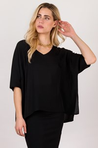 DVF Black Silk Oversized Top / Size: S - Fit: M