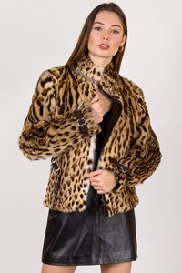Moschino Leopard Fur Jacket with Suede Straps / Size: 42 IT - Fit: XS