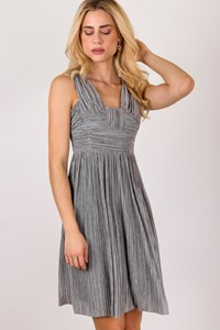 Burberry Grey - Silver Pleated Dress / Size: 40 - Fit: XS / S