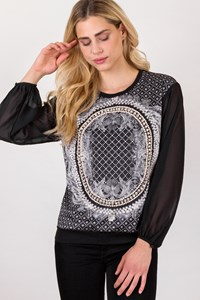 Ci Ci Black Blouse with Print and Stones / Size: 36 - Fit: S / M