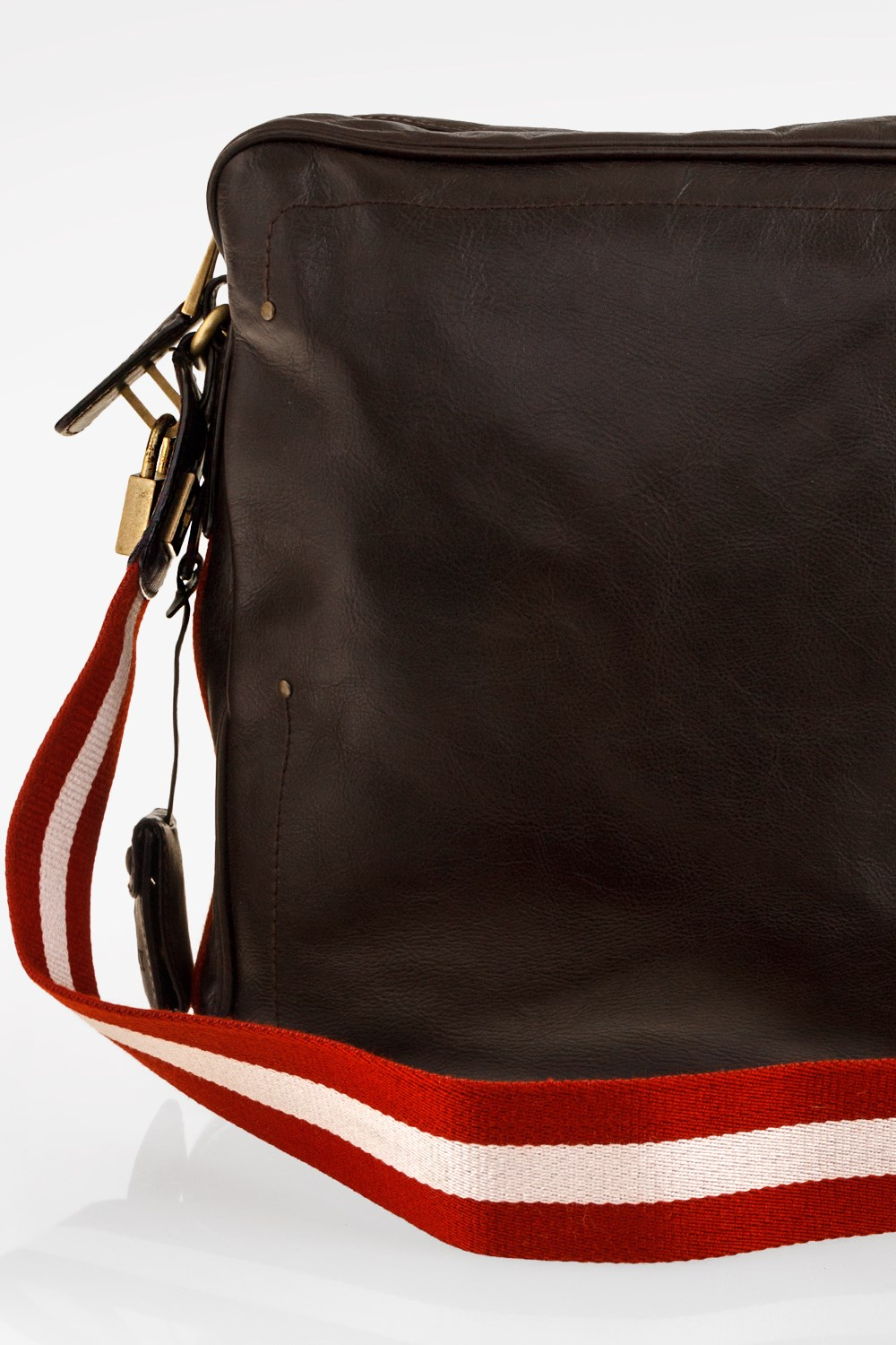 Dark Brown Leather Men s Bag with Adjustable Canvas Strap ae714be1e8ba3