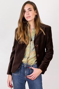 Max Mara Brown Cotton Velvet Blazer / Size: 16 UK - Fit: S / M