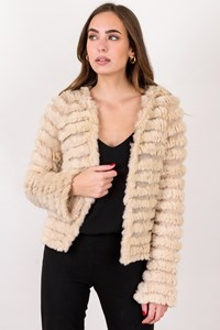Pellessimo Ecru Knitted Cardigan with Rabbit Fur / Size: L - Fit: S