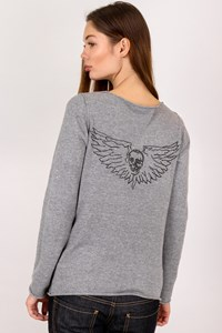 Zadig & Voltaire Grey Cotton Blouse with Crystals / Size: S - Fit: True to size