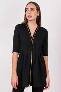 Moschino Black Front-Zip Tunic / Size: 42 IT - Fit: XS