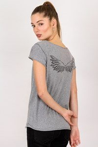 Zadig & Voltaire Grey Cotton T-shirt with Crystals / Size: S - Fit: True to size