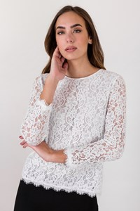 DVF Brielle White Lace Blouse / Size: 6 US - Fit: S