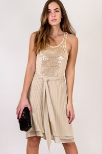 Iisli Beige-Gold Dress with Sequins / Size: S/P - Fit: XS