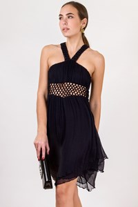 Sass & Bide Dark Blue Silk Halterneck Dress / Size: 38 - Fit: S