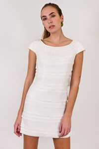 French Connection White Pleated Mini Dress / Size: 8 UK - Fit: XS
