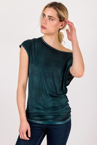 Avant Toi Teal Blue Shortsleeved Top / Size: S - Fit: True to size