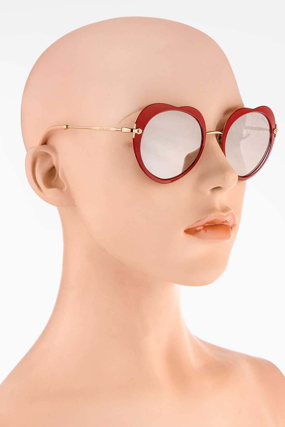 519d087bb31 Heart Shaped Metallic Sunglasses with Mirrored Lenses