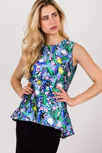 Peter Pilotto Multicoloured Silk Floral Top / Size: 10 UK - Fit: M