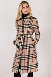 Burberry London Beige Check Printed Wool Coat / Size: 14 UK - Fit: M