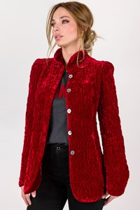 Ghost Red Velvet Blazer with High Collar / Size: S - Fit: True to size