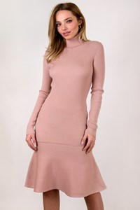 Moschino Dusty Pink Turtleneck Wool Midi Dress / Size: 42 IT - Fit: S
