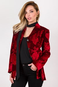 New York Industrie Red Textured Velvet Blazer / Size: 44 IT - Fit: M