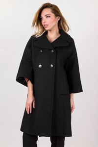 Twenty-29 Black Wool Coat with 3/4 Sleeves / Size: L - Fit: M