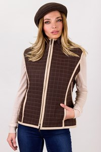 Burberry Brown Microfiber Quilted Vest / Size: ? - Fit: S / M
