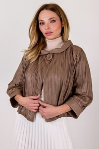 Koç Café Au Lait Leather Pleated Jacket / Size: 36 - Fit: S