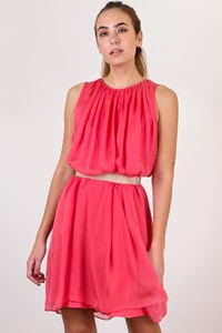 TARA JARMON Coral Pink Pleated Chiffon Dress / Size: 40 IT - Fit: S / M