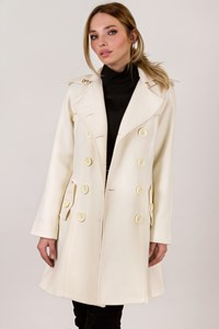 Celyn B Ecru Wool Trench Coat with Black Leather Belt / Size: 42 IT - Fit: S