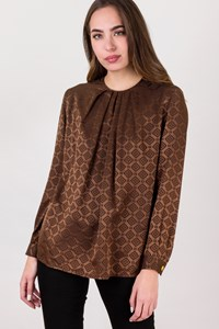 Céline Brown Silk Printed Blouse / Size: ? - Fit: S