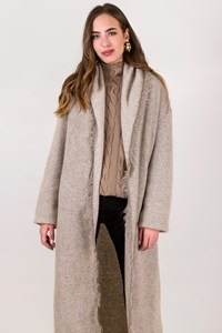 D.Exterior Beige Knitted Long Cardigan / Size: S - Fit: One size