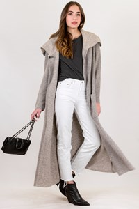 D.Exterior Grey Knitted Long Cardigan / Size: S - Fit: M / L